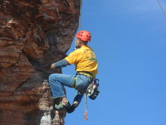Rock Climbing Photo: Gene on Costic.....Where are those anchor chains?