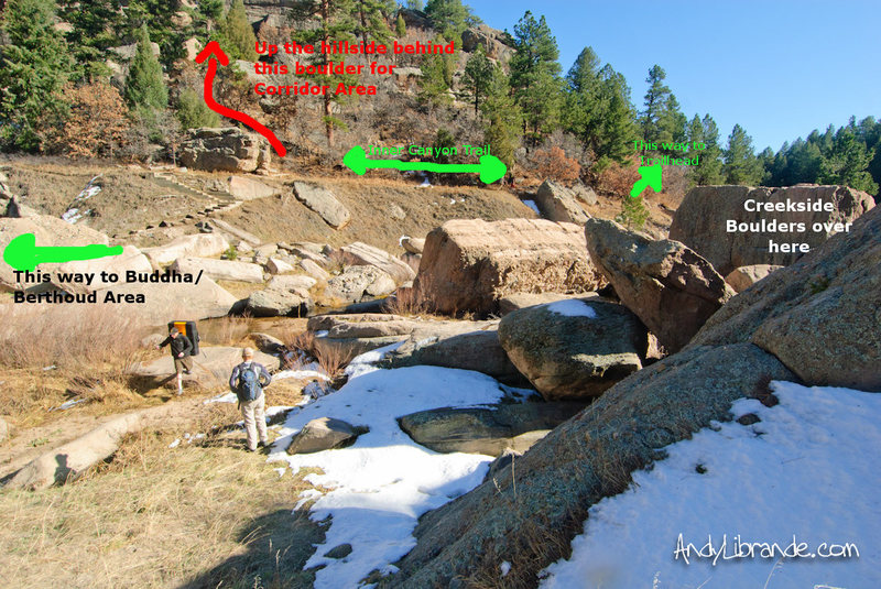Ghetto map of Creekside Boulders and directions to Corridor bouldering area.<br> <br> Get here by going to the South entrance (also known as the East entrance). Park in the main huge parking lot and follow trails down to the &quot;Inner Canyon&quot; trail. Walk for just over 10 minutes.