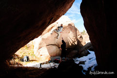 Rock Climbing Photo: Creekside high-ball warm-up problem with Ben climb...
