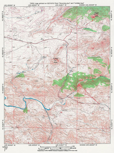 Map of Elmers Rock, Sugar Loaf and The Laramie River Canyon