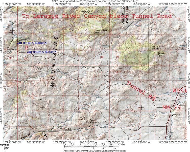 Rock Climbing Photo: MAP 1: Laramie River Canyon access below Tunnel Rd...