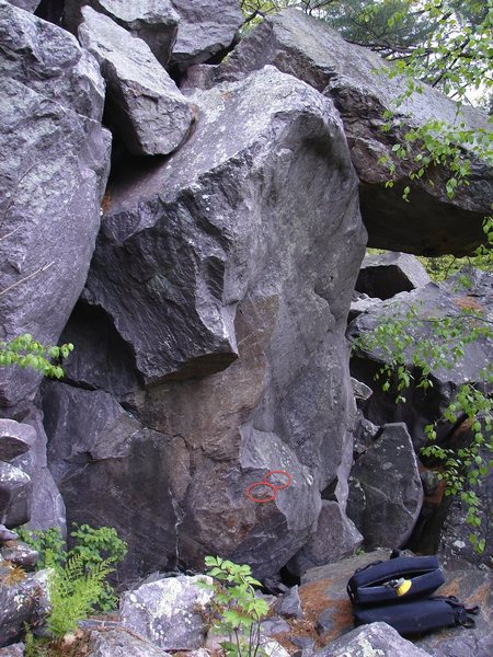 Rock Climbing Photo: Bud White starts on the two holds pictured and mov...