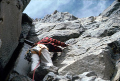 Rock Climbing Photo: Above the dihedral, August 1980, Sacagawea, W Face...