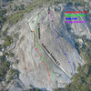 Topo of Tollhouse Rock with the route 'Shining Path' shown in Red.<br> <br> Original photo credit: Dave Daley, SummitPost.org <br> www.summitpost.org/an-aerial-shot-of-tollhouse/40792/c-15141&gt@SEMICOLON@&gt@SEMICOLON@&gt@SEMICOLON@