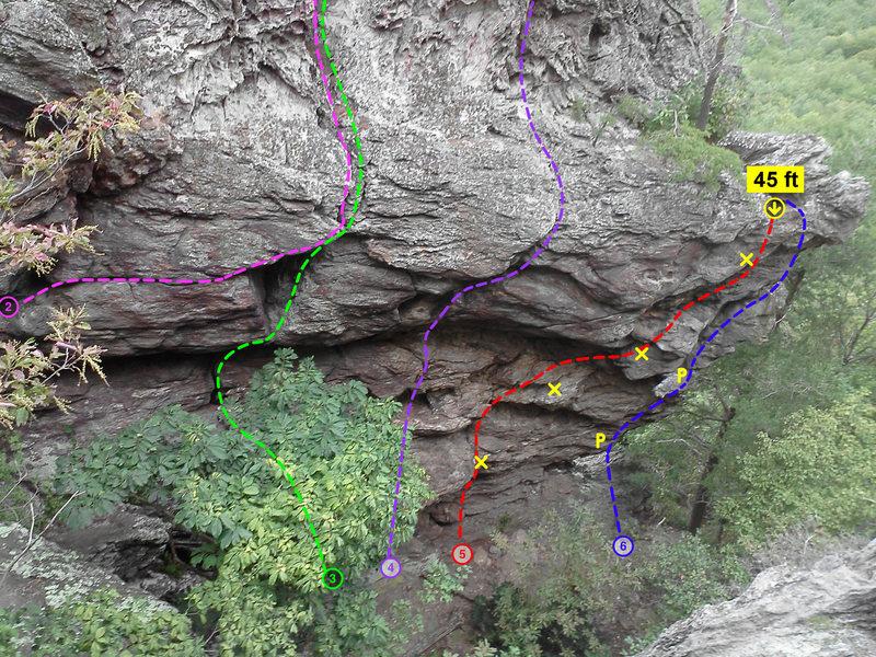 Middle Finger Backside<br> <br> 1)Entertainment For Men (5.9)<br> 2)Flat Tire (5.10)<br> 3)Drive On (5.8)<br> 4)Firestone (5.10)<br> 5)Burn Signals (5.10)<br> 6)Scorched Earth Defenses(5.10d)<br> <br> Crowders Mountain State Park, North Carolina
