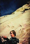 Rock Climbing Photo: Paul Horak belaying Dave Baltz, Tooth Fairy, 1981.