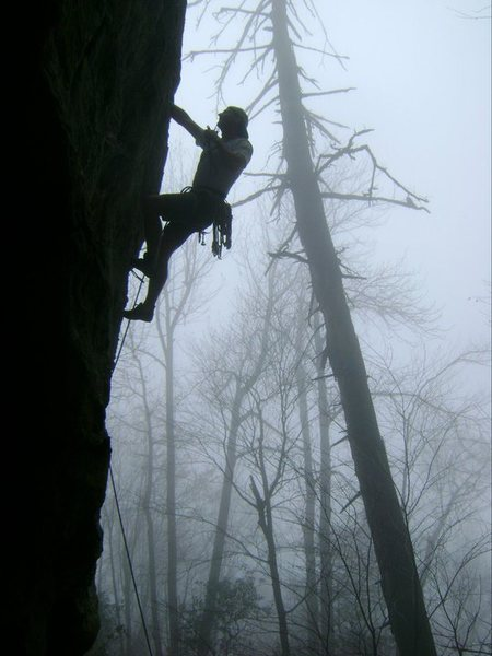 The Amphitheater<br> <br> On a slightly wet day, <br> Robert Hutchins leads<br> Stab In The Dark(5.10d)(5.8R)<br> <br> Moores Wall, North Carolina