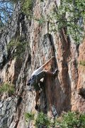 Rock Climbing Photo: Red Wall  Target Practice(5.8)  Crowders Mountain ...
