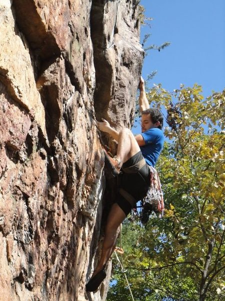 Rawlhide Wall<br> <br> Arborcide (5.9) Trad<br> <br> Crowders Mountain State Park, North Carolina