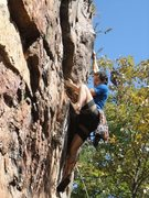 Rock Climbing Photo: Rawlhide Wall  Arborcide (5.9) Trad  Crowders Moun...