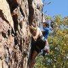Rawlhide Wall<br> <br> Arborcide (5.9) Trad<br> <br> Crowders Mountain State Park, North Carolina