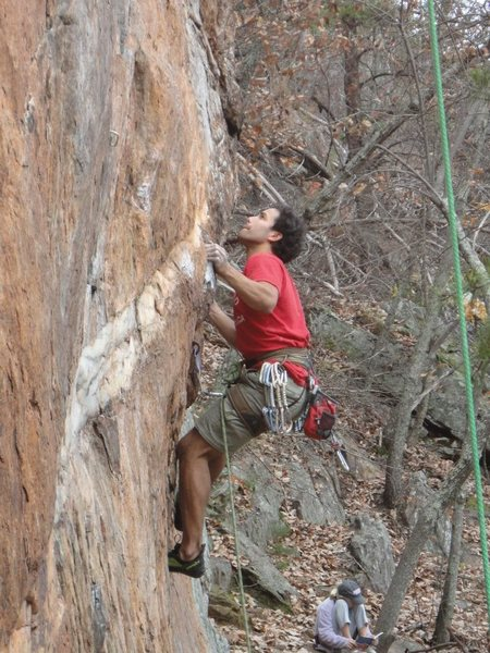 Red Wall<br> <br> Fashion Direct(5.12c) sport (pre-clipped)<br> <br> Crowders Mountain State Park, North Carolina