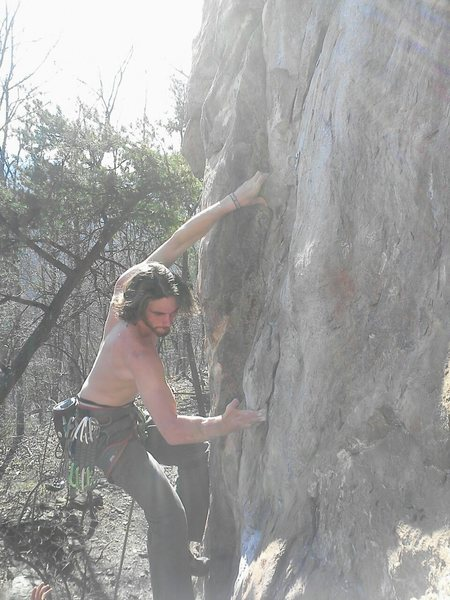 Red Wall<br> <br> Dave Coleman leads<br> Electra (5.10c) sport<br> <br> Crowders Mountain State Park, North Carolina
