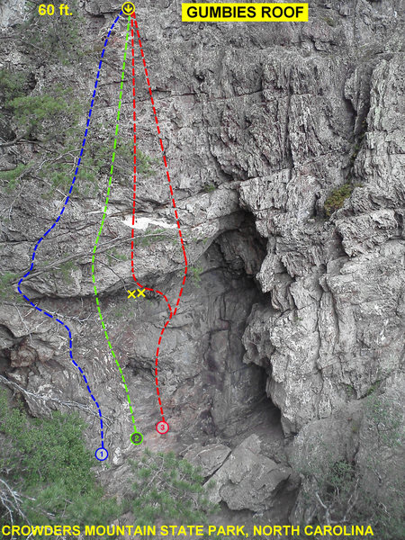 Rock Climbing Photo: Gumbies Roof  Aerial Act 5.10+ R Eye Sockets 5.10 ...