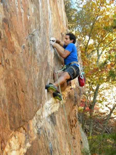 Red Wall <br> <br> Fashion (5.12b) sport <br> <br> Crowders Mountain State Park, North Carolina<br>