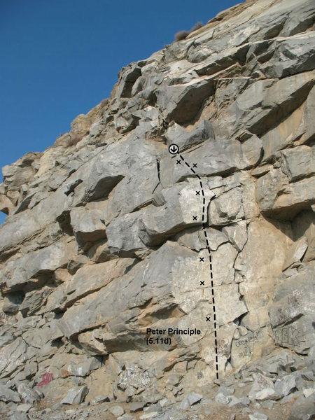Peter Principle (5.11d), Riverside Quarry
