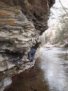 Rock Climbing Photo: Jeremy traversing above freezing cold water.