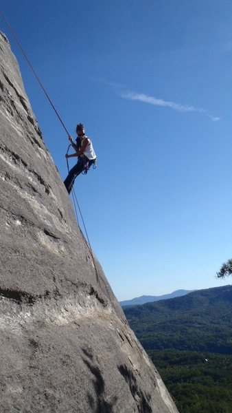 Rock Climbing Photo: Lake Veiw rappel, Rumbng Bald, NC