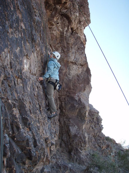 Rock Climbing Photo: Susan on the tough start of 'Unknown'
