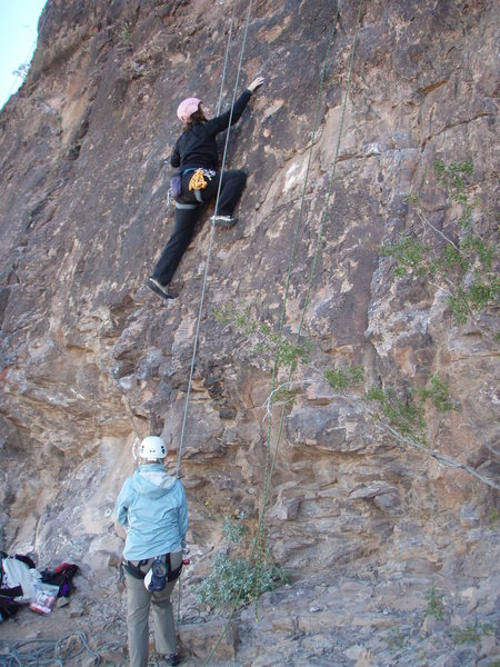 Rock Climbing Photo: Suzanne gets past the tough start on 'Totally Trad...