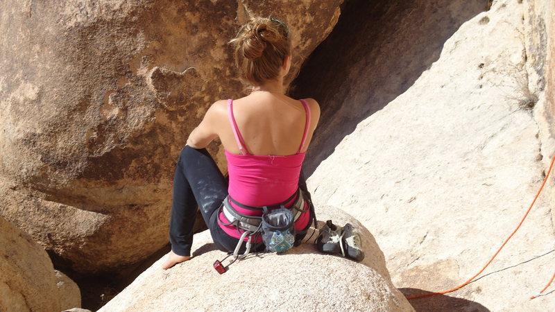 Rachel resting between climbs