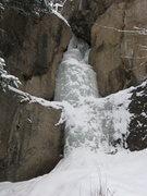 Rock Climbing Photo: Hidden Falls left flow, RMNP 2/11/12