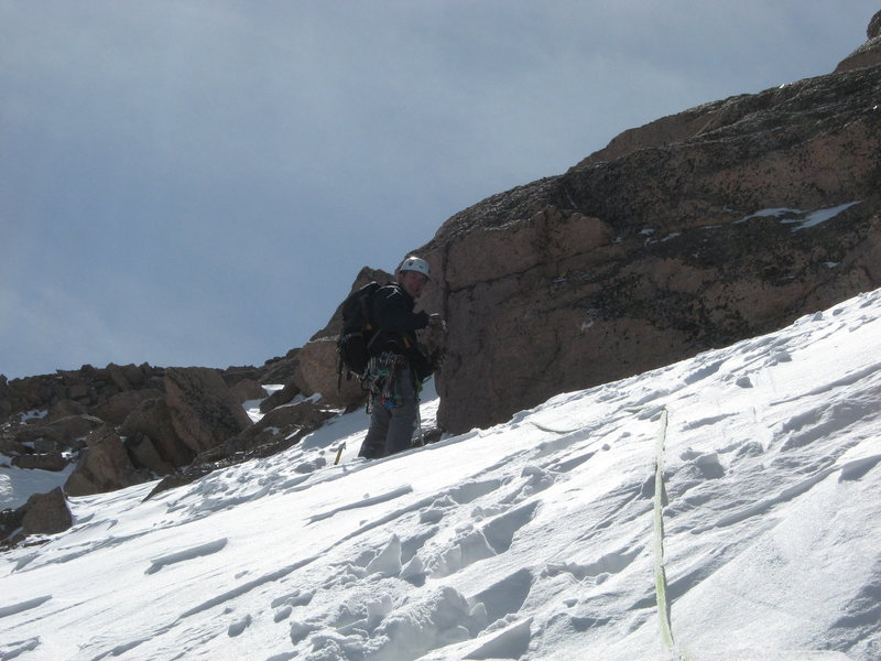 Dave on a sketchy March ascent of the north face of Longs, RMNP