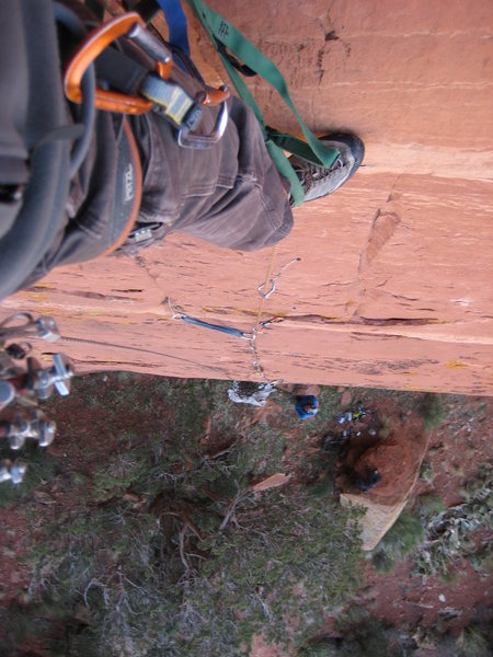 Rock Climbing Photo: looking down the start of the rivet ladder on P1