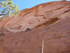 Rock Climbing Photo: looking up at the route, and Joel working out the ...