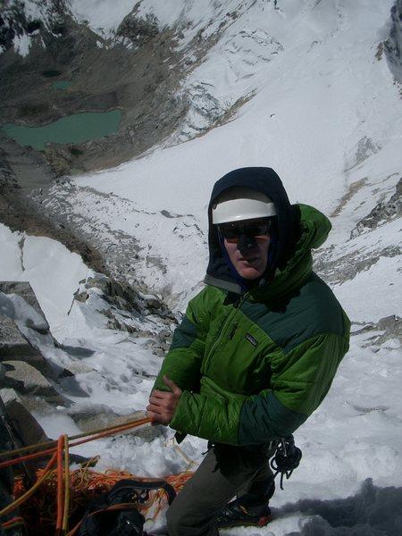 On the North face of Ranrapalca (6162m), Cordillera Blanca.
