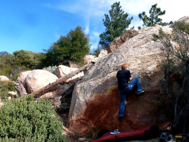 Rock Climbing Photo: Jacob pulling on