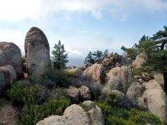 Rock Climbing Photo: The trail to the Lair is visible in the bottom cen...