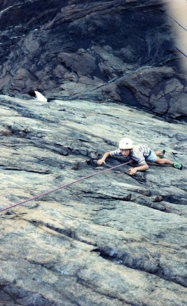 My first climb ever. Hanging on! 1995. <br> <br> Photo: Pasquale Gargano