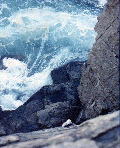 Otter Cliffs. First climb. 1995. <br> <br> Photo: Pasquale Gargano