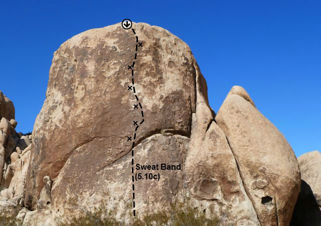 Rock Climbing Photo: Sweat Band (5.10c), Joshua Tree NP