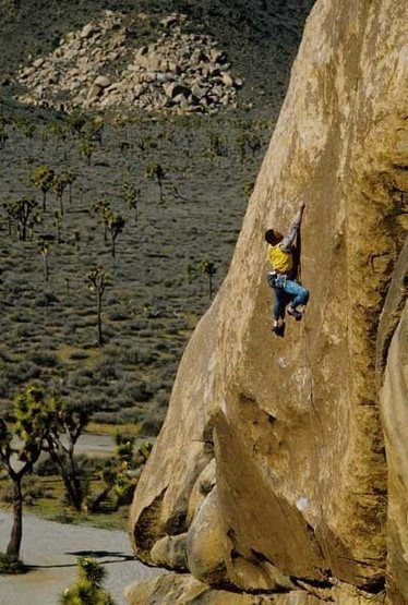 Kurt Smith on the FA of Duncecap (5.13b), Joshua Tree NP<br> <br> Photo - K. Smith Collection