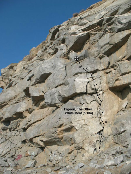 Rock Climbing Photo: Pigeon, The Other White Meat (5.10a), Riverside Qu...