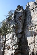 Rock Climbing Photo: Practice Wall  Heady Areteddy (5.9+) trad  Crowder...