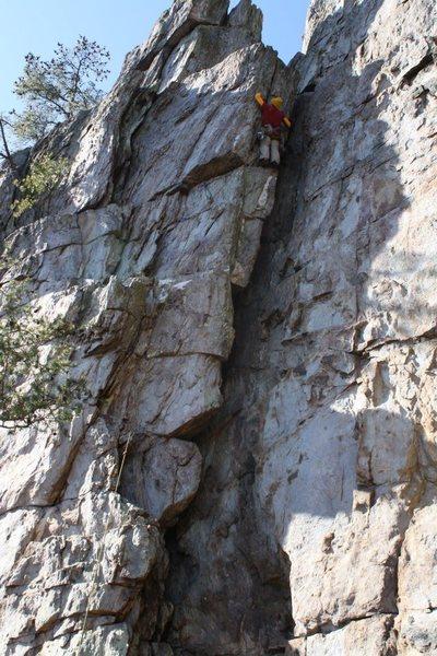 Rock Climbing Photo: Practice Wall  Heady Areteddy (5.9) trad (staying ...