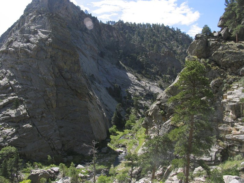 The Gate Rocks of Lower Duck Creek Canyon.  This steep slab is on the right when going down stream.