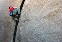 Rock Climbing Photo: David giving it a layback run on Throbbing Gristle...