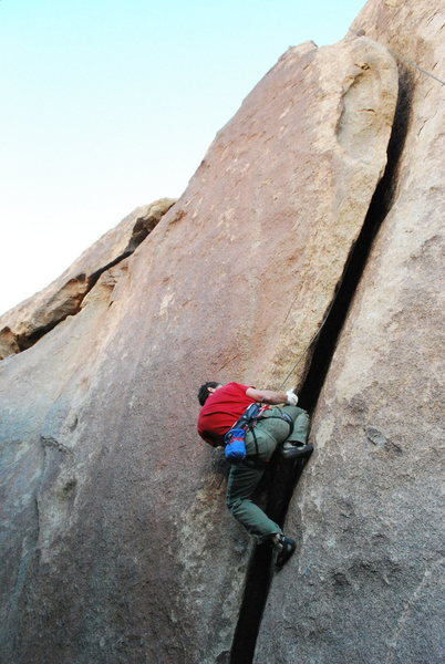 Rock Climbing Photo: David cranking up Throbbing Gristle. Nice view of ...