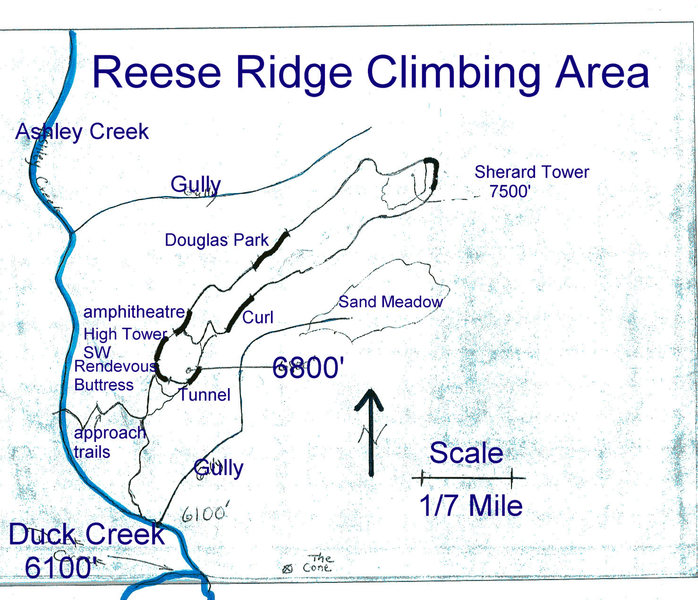 Schematic top view drawing of the Southwest Ridge of Reese Mtn.