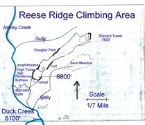 Rock Climbing Photo: Schematic top view drawing of the Southwest Ridge ...