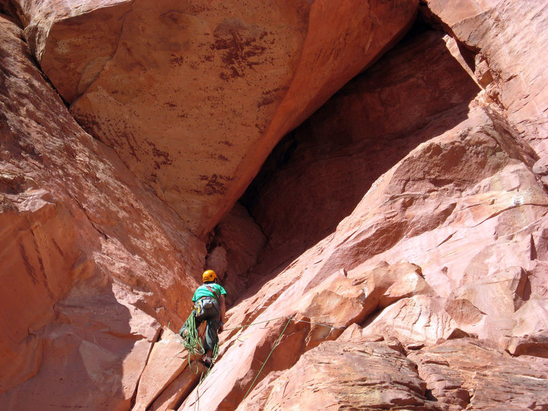 Looking up at the roof from the belay.<br> <br> Photo Ken Rathcke