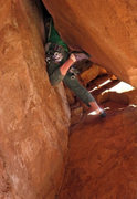 Rock Climbing Photo:  The end of the squeeze traverse and before going ...