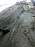 Rock Climbing Photo: P-1 with the P-2 double cracks seen above.
