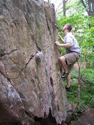 Rock Climbing Photo: The last moves of Traverse Problem.  Taken June 2,...