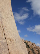 Rock Climbing Photo: The start of What's My Line? - looking up at the p...