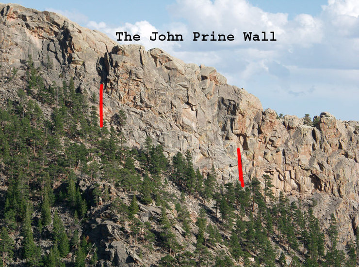 The John Prine Wall(the grey wall) is bounded by the gully on the left and the orange-yelloe-brown wall on the right.